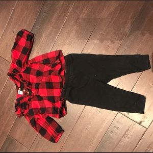 Buffalo plaid matching set